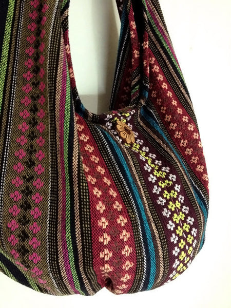 Woven Bag Handbags Tote Thai Cotton Bag Tribal bag Hippie bag Hobo bag Boho bag Shoulder bag Women bag Everyday bag Short Strap (WF67)