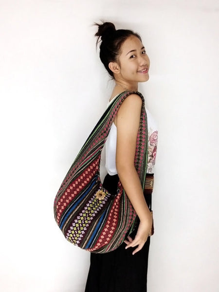 Woven Bag Cotton Bag Tribal bag Hobo Boho bag Shoulder Bag Short straps (WF67), VeradaShop, HaremPantsThai