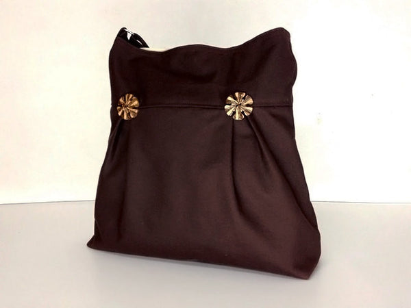 Canvas Handbags Shoulder bag Hobo bag Tote bag  Chocolate Brown  Beth, VeradaShop, HaremPantsThai