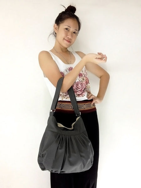 Canvas Handbags Shoulder bag Hobo bag Boho  bag Tote bag  Dark Gray  Lily, VeradaShop, HaremPantsThai
