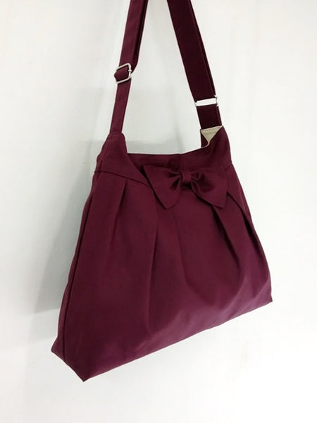 Canvas Bag Shoulder bag Hobo bag Tote bag Handbags Bow Maroon Denee, VeradaShop, HaremPantsThai