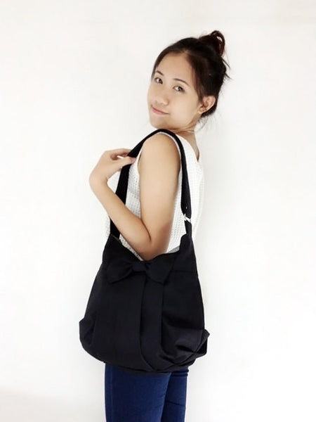 Canvas Handbags Shoulder bag Hobo bag Tote bag Bow  Black Tracy, VeradaShop, HaremPantsThai