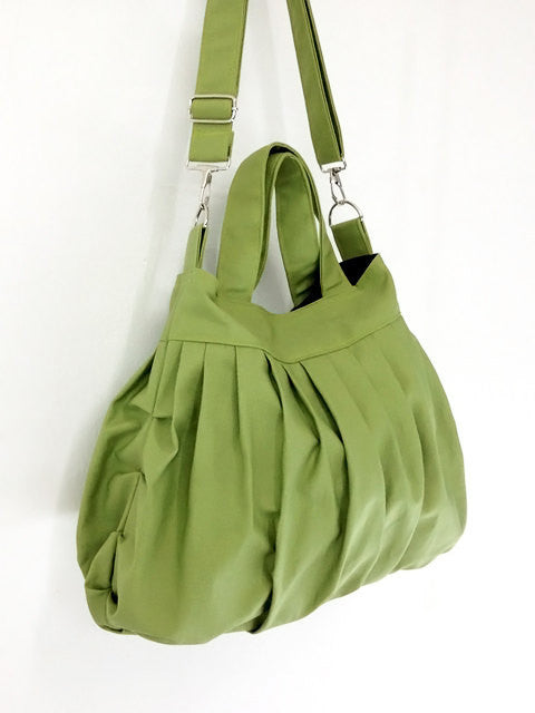 Canvas Handbags Shoulder bag Hobo bag Tote bag  Pea Green Kacy, VeradaShop, HaremPantsThai