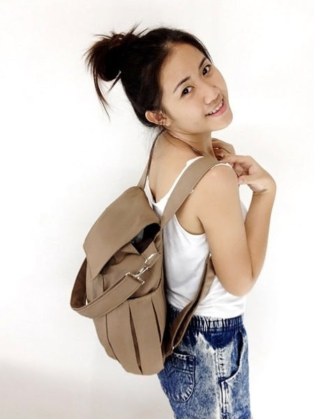 Canvas Handbags Shoulder bag Hobo bag Tote bag Backpack  Khaki Zinnia, VeradaShop, HaremPantsThai
