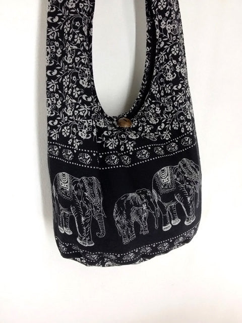 Cotton Handbags Elephant bag Hippie Hobo bag Boho bag Shoulder bag Sling bag Tote bag Crossbody Black, VeradaShop, HaremPantsThai
