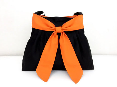 Canvas Handbags Shoulder bag Hobo bag Tote bag Bow  Black & Orange Annie, VeradaShop, HaremPantsThai