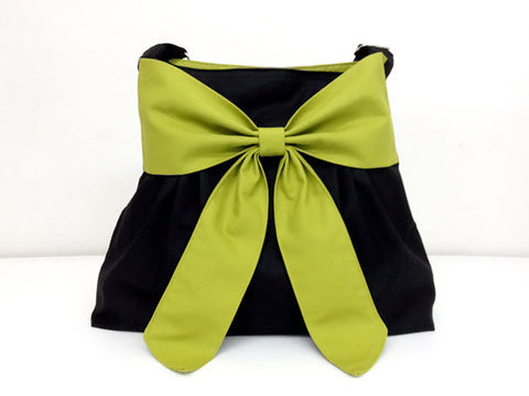 Canvas Handbags Shoulder bag Hobo bag Tote bag Bow  Black & Green  Anna, VeradaShop, HaremPantsThai