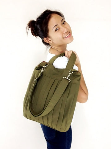 Canvas Handbags Shoulder bag Hobo bag Tote bag  Olive Green  Martha, VeradaShop, HaremPantsThai