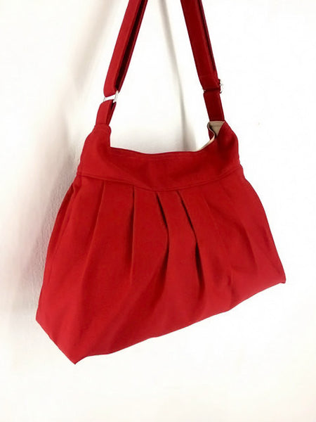 Canvas Handbags Shoulder bag Hobo bag Tote bag  Red Cherry, VeradaShop, HaremPantsThai