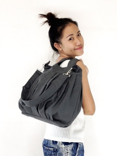Canvas Handbags Shoulder bag Hobo bag Tote bag  Dark Gray  Catie, VeradaShop, HaremPantsThai