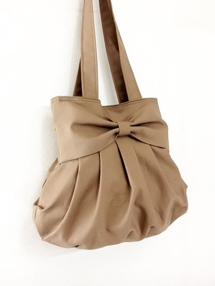 Handmade Bag Canvas Shoulder bag Hobo bag Tote bag Double Straps Bow Khaki Bella, VeradaShop, HaremPantsThai
