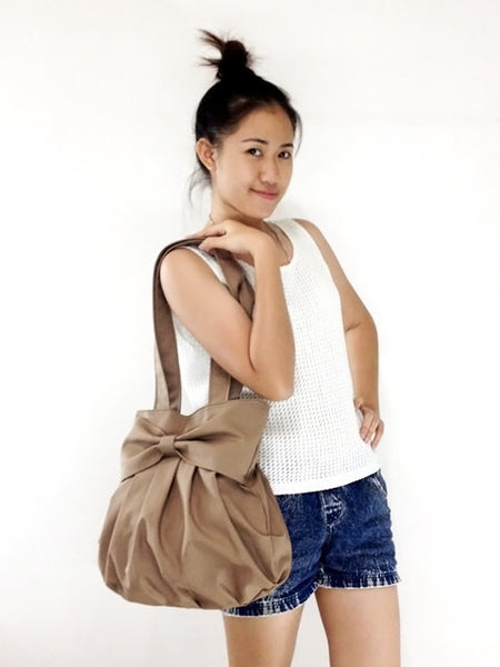Handbags Canvas Shoulder bag Hobo bag Tote bag Double Straps BowDark Gray Bella, VeradaShop, HaremPantsThai