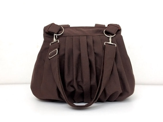 Canvas Handbags Shoulder bag Hobo bag Tote bag  Chocolate Brown Nina, VeradaShop, HaremPantsThai