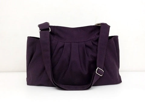 Handmade Bag Canvas Bag Shoulder bag Hobo bag Tote bag  Dark Purple Jamie, VeradaShop, HaremPantsThai