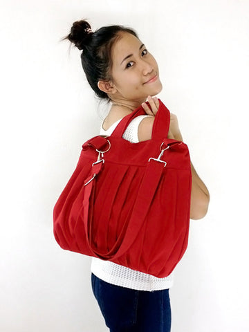 Canvas Bag Cotton bag Handbags Diaper bag Shoulder bag Hobo bag Tote bag Purse Everyday bag  Red  Martha