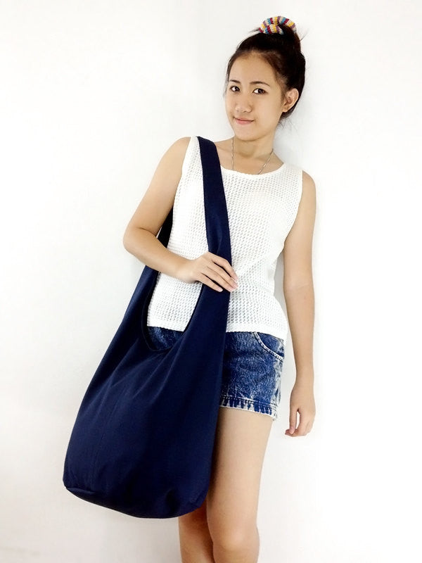 Canvas Handbags Shoulder bag Sling bag Hobo bag Boho bag Tote bag Crossbody bag Dark Navy Blue, VeradaShop, HaremPantsThai