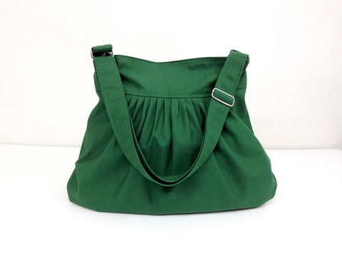 Canvas Bag Shoulder bag Hobo bag Tote bag Pleated bag  Green Forest  Lily2, VeradaShop, HaremPantsThai