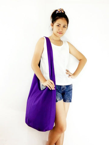 Canvas Handbags Shoulder bag Sling bag Hobo bag Boho bag Tote bag Crossbody bag Violet, VeradaShop, HaremPantsThai