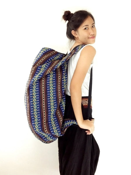 Woven Bag backpack Hobo Boho bag Shoulder Bag Crossbody Bag Tribal bag Gypsy Bag Dark Blue, VeradaShop, HaremPantsThai