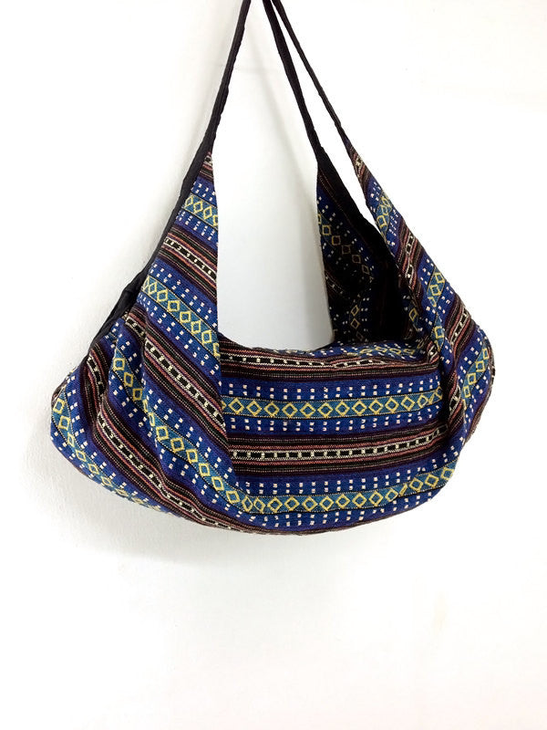 Woven Bag Backpack Hippie bag Hobo Boho bag Shoulder bag Tote Handbags Travel Bag Crossbody Bag Tribal bag Gypsy Bag Dark Blue