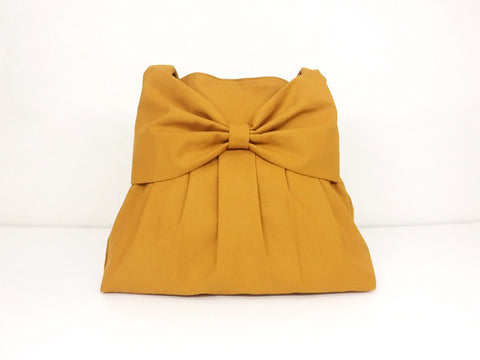 Canvas Bag Shoulder bag Hobo bag Tote bag Bow  Mustard  Tina, VeradaShop, HaremPantsThai