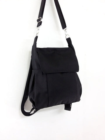 Canvas Bag Cotton bag diaper bag Shoulder bag Hobo bag Tote bag bag Purse Backpack Everyday bag  Black  Susie