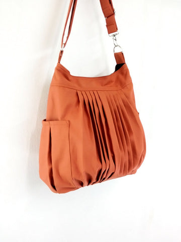 Cotton bag Canvas Bag Diaper bag Shoulder bag Hobo bag Handbags Tote bag bag Purse  Burnt Orange  Rita