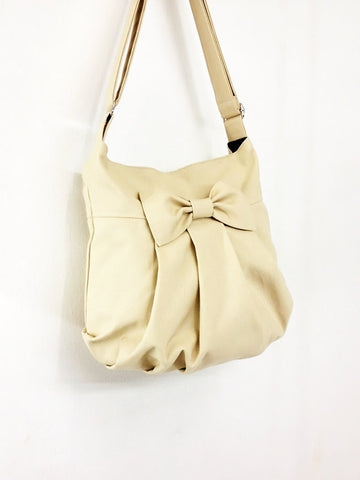 Canvas Bag Shoulder bag Hobo bag Tote bag Bow  Cream Tracy, VeradaShop, HaremPantsThai