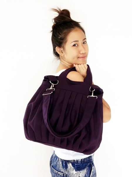 Canvas Bag Cotton bag Handbags Diaper bag Shoulder bag Hobo bag Tote bag Purse Everyday bag  Dark Purple  Martha