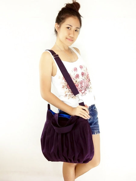 Canvas Bag Handbags Shoulder bag Hobo bag Tote bag  Dark Purple Martha, VeradaShop, HaremPantsThai