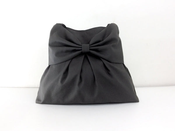 Canvas Bag Shoulder bag Hobo bag Tote bag Bow  Dark Gray Tanya, VeradaShop, HaremPantsThai
