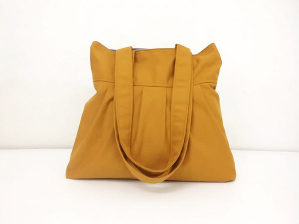 Canvas Bag Shoulder bag Hobo bag Tote bag Pleated bag Mustard Mally, VeradaShop, HaremPantsThai