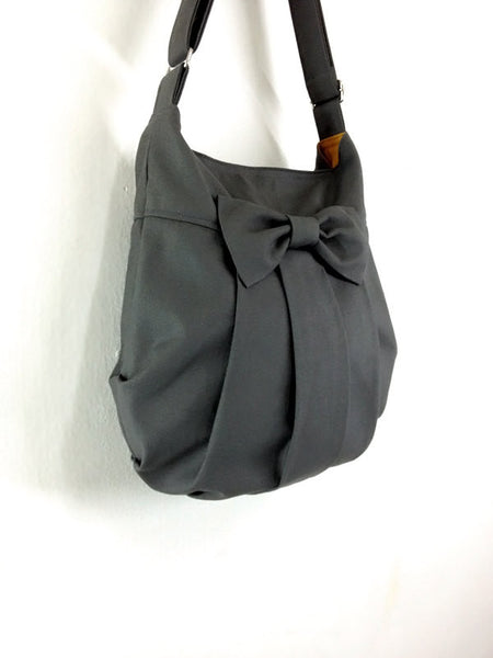 Canvas Handbags Shoulder bag Hobo bag Tote bag Bow  Dark Gray  Tracy, VeradaShop, HaremPantsThai