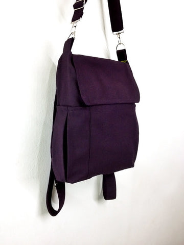 Canvas Bag Cotton bag diaper bag Shoulder bag Hobo bag Tote bag bag Purse Backpack Everyday bag  Dark Purple Susie