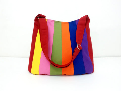 Canvas Handbags Shoulder bag Hobo bag Tote bag Patchwork bag  Rainbow  Patty, VeradaShop, HaremPantsThai
