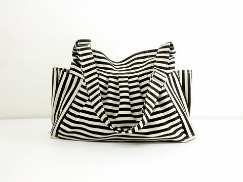 Striped Denim bag Cotton bag Canvas Bag Diaper bag Shoulder bag Hobo bag Tote bag bag Purse  Cream&Black  Jamie
