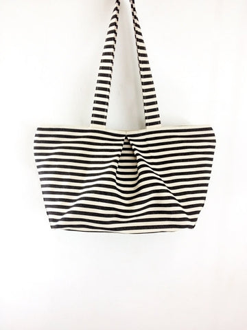 Striped Denim bag Cotton bag Canvas Bag Diaper bag Shoulder bag Hobo bag Tote bag Purse Everyday bag  Cream&Black  Sophia