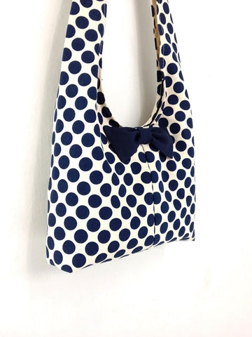 Handbags Canvas Shoulder bag Sling bag Hobo bag Boho bag Tote bag Crossbody bag Bow Navy Blue Dots, VeradaShop, HaremPantsThai