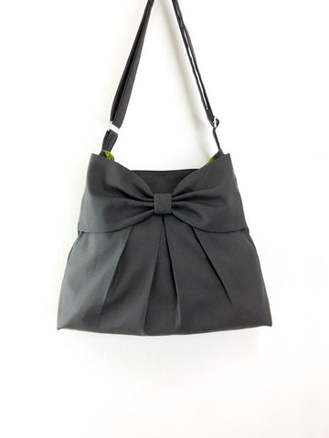 Canvas Bag Shoulder bag Hobo bag Tote bag Bow  Dark Gray Tanya(S), VeradaShop, HaremPantsThai