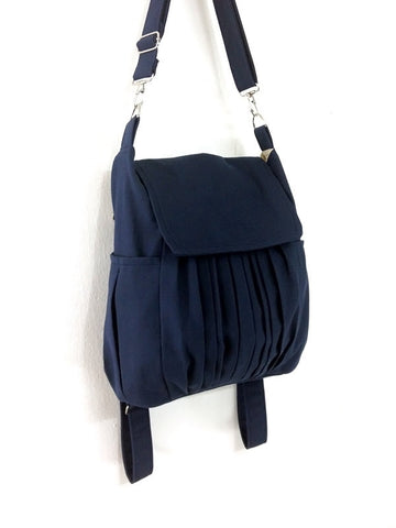Canvas Bag Cotton bag diaper bag Shoulder bag Hobo bag Tote bag Purse Backpack Everyday bag  Dark Navy Blue Zinnia