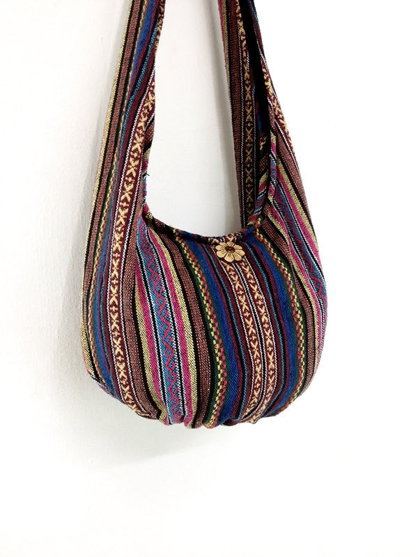 Woven Cotton Bag Hippie bag Hobo Boho bag Shoulder bag Sling bag bag Tote Crossbody bag Women bag Handbags Long Strap (WF97)
