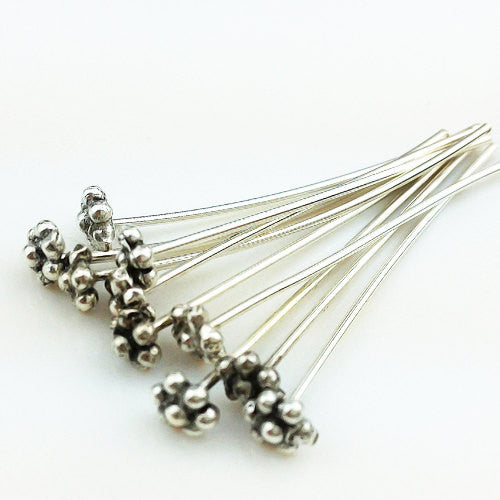 10 of 925 thai sterling silver head pins with 7 ball 30 mm 21 awg ss0001