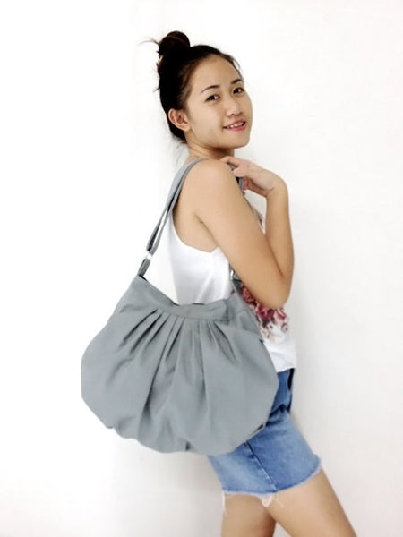 Canvas Handbags Shoulder bag Hobo bag Tote bag  Dark Gray Dahlia, VeradaShop, HaremPantsThai