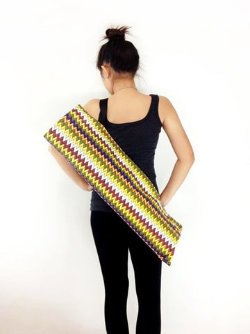 Handmade Yoga Mat Bag Yoga Bag Sports Bags Tote Yoga Sling bag Pilates Bag Pilates Mat Bag  WITH Zig Zag Chevron