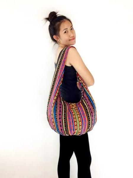 Woven Bag Cotton Bag Tribal bag Hobo Boho bag Shoulder Bag Short straps (WF34), VeradaShop, HaremPantsThai
