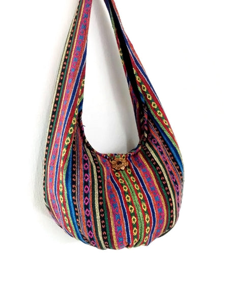 Woven Bag Handbags Tote Thai Cotton Bag Tribal bag Hippie bag Hobo bag Boho bag Shoulder bag Women bag Everyday bag Short Strap (WF34)