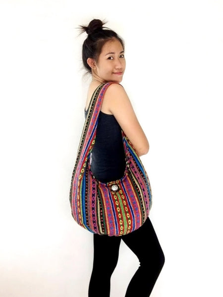 Woven Cotton bag Hobo Boho bag Shoulder Bag Elephant button Short straps (WF34), VeradaShop, HaremPantsThai