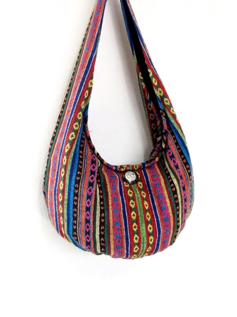 Woven Bag Tote Women bag Thai Cotton Bag Hippie bag Hobo bag Boho bag Shoulder bag Elephant button Everyday bag Short Strap (WF34)