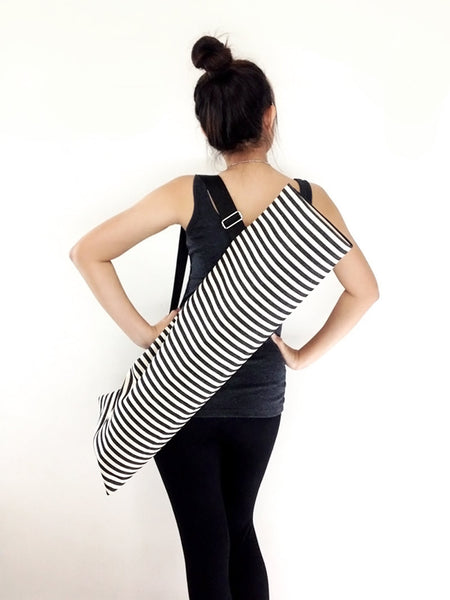 Handmade Yoga Mat Bag Yoga Bag Sports Bags Tote Yoga Sling bag Pilates Bag Pilates Mat Bag  WITH Cream & Black Denim Striped