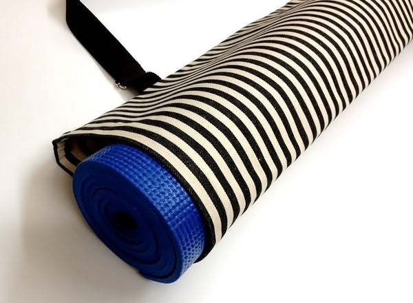 Thai Handmade Woven Yoga Mat Bag Sports Bags Pilates Mat Bag  WITH Cream & Black Denim Striped, VeradaShop, HaremPantsThai